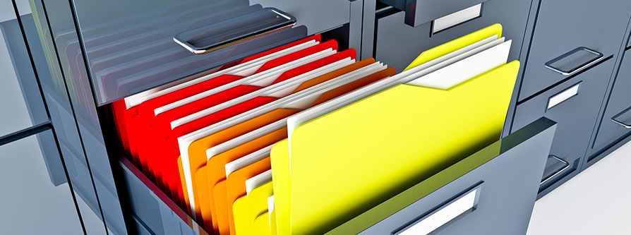 file cabinet filled with colored folders